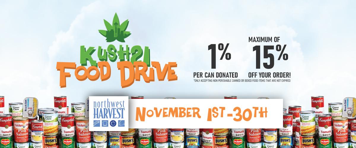 Kush21 Food Drive with Northwest Harvest